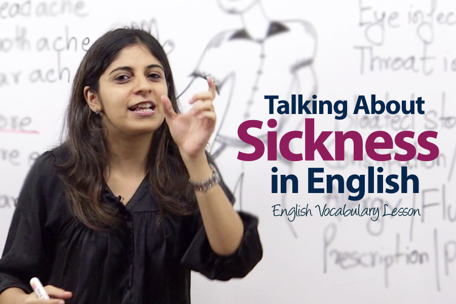 Free English lesson to describe sickness in English, free english lesson online