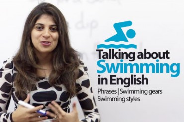 Talking about swimming in English.