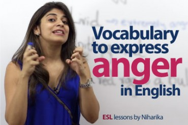 Vocabulary to express 'Anger' in English.