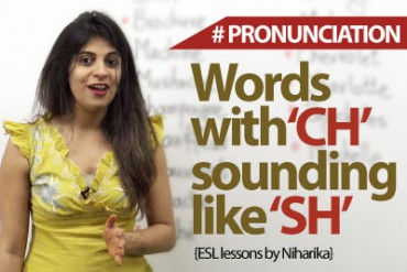English words in which 'ch' is pronounced as 'sh'.