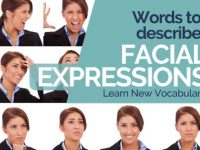 Words used to describe facial expressions in English.