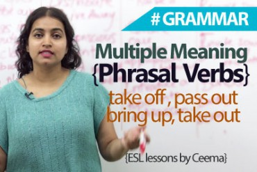 Multiple meaning phrasal verbs in English.