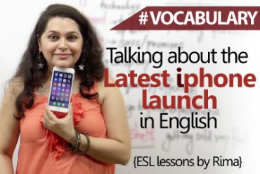 Talking about the new iphone launch in English.