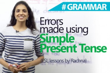 Errors made using – Simple present tense