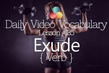 English Vocabulary Lesson # 135 – Exude ( Verb)