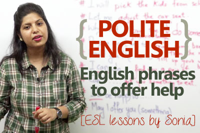 spoken English lesson to learn polite English phrases to offer help