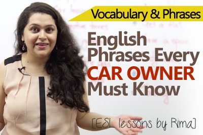English speaking lesson to learn English conversation phrases for car owners