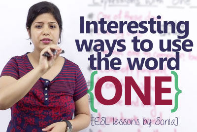 Free English speaking lesson to learn English expressions and English phrases for using the word one