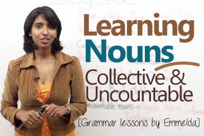 Basic English grammar lesson to learn collective nouns and uncountable nouns