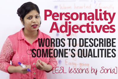 Beginner English lesson to learn personality adjectives to describe someone's qualities